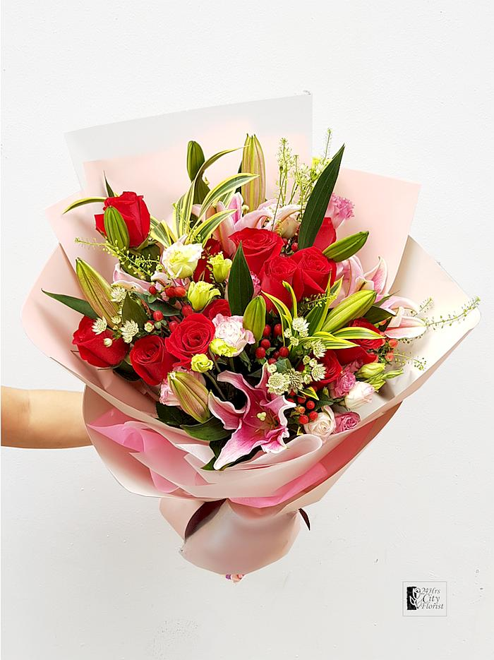 Pink Lily Red Rose Bouquet