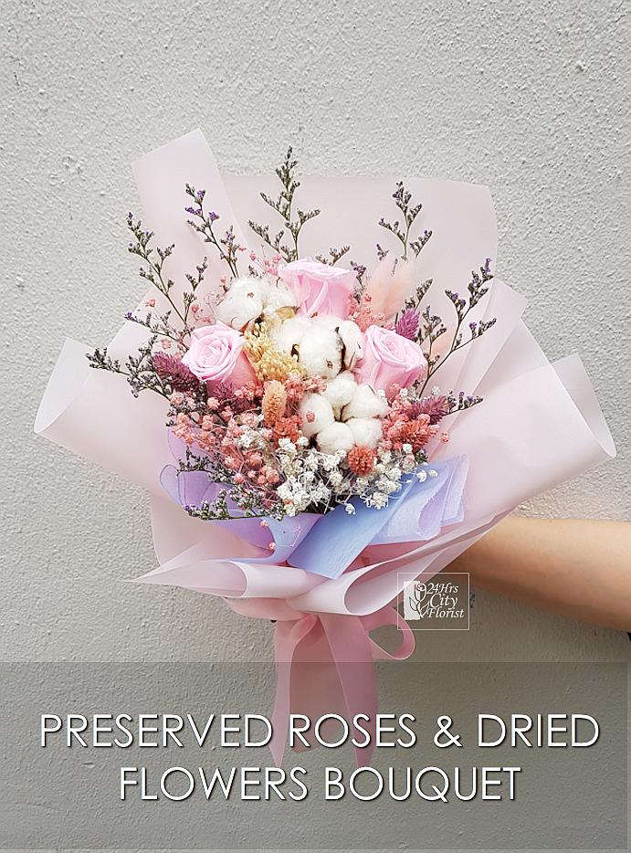 Perfect Pink Preserved Rose Bouquet  Valentine