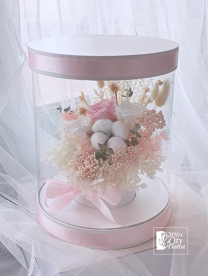 Preserved Flower Box Pink