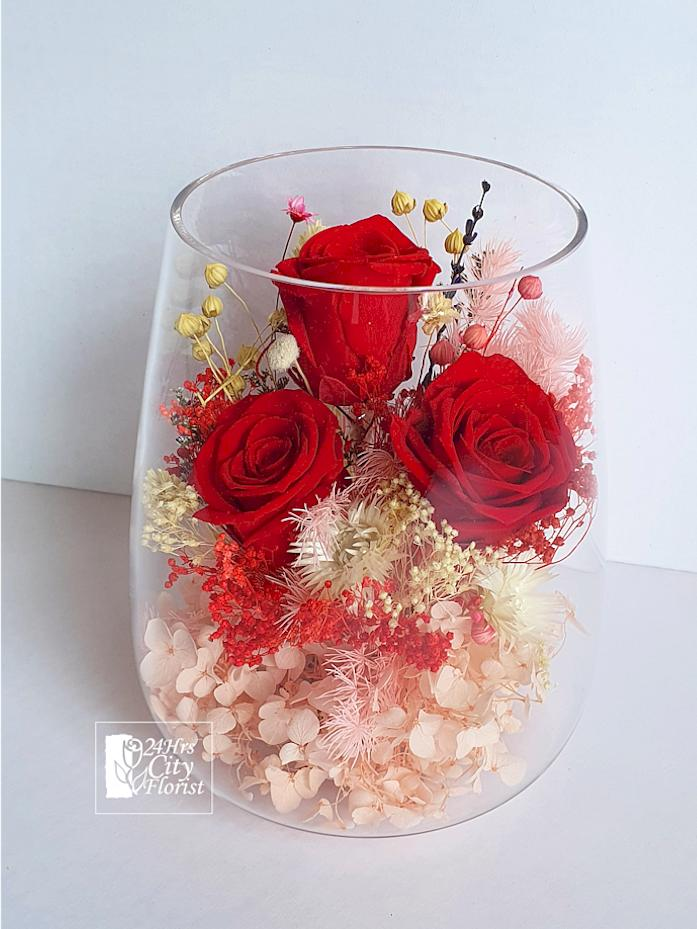 Preserved Red Rose In Vase