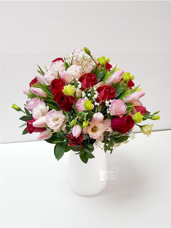 Lyra - tulip rose vase arrangement