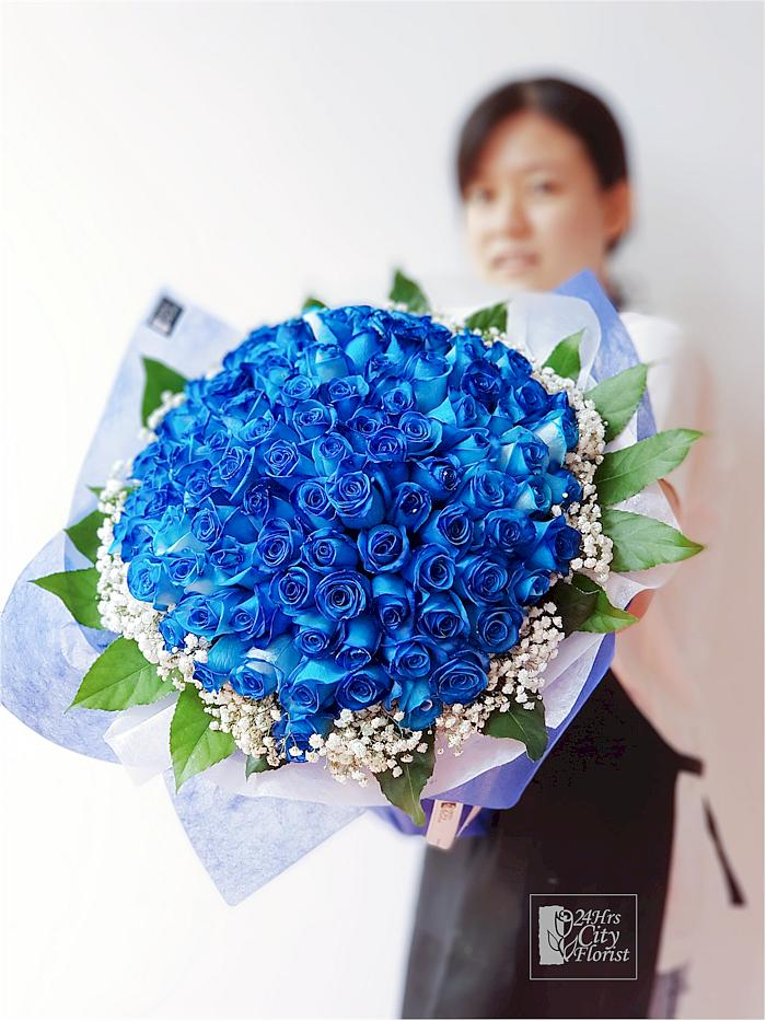 Big Blue - 99 Stalks Blue Rose Bouquet