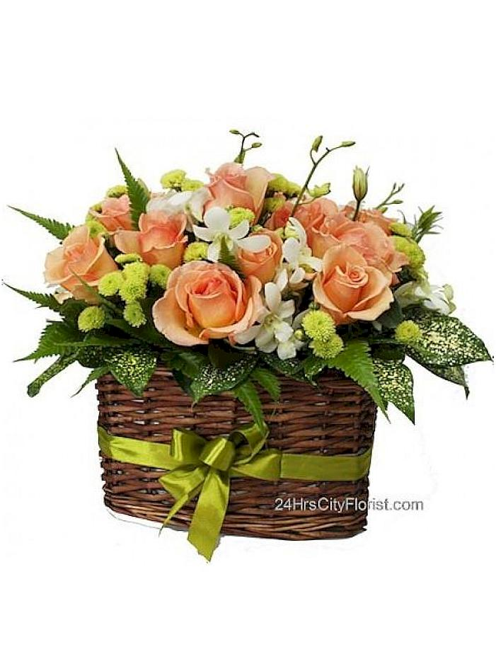 champagne rose basket
