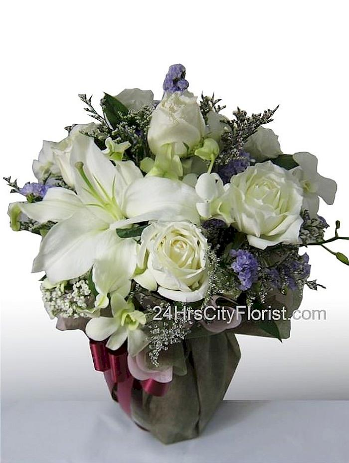 White Lily And Rose Standing Bouquet
