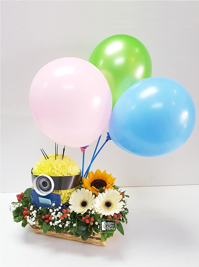 Minion Basket Flower Arrangement