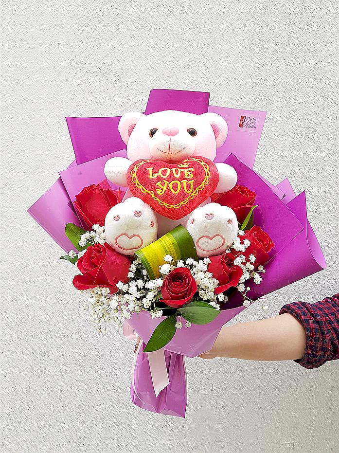 Pinky Bear (Red Rose  Valentine's Day Bouquet)