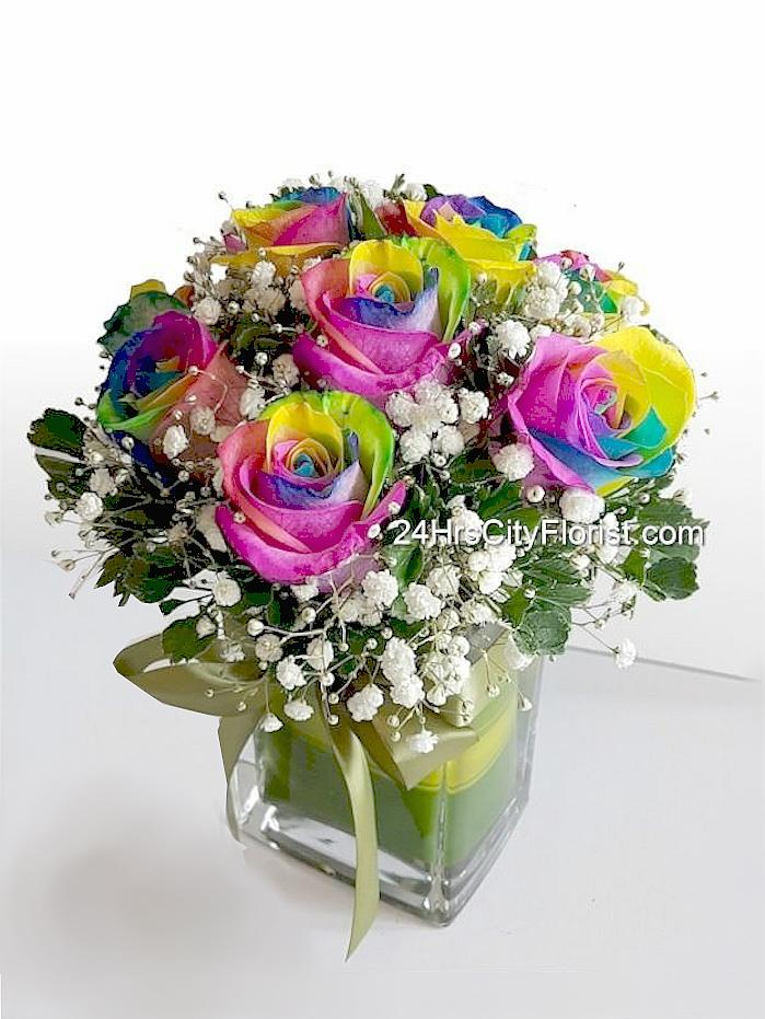 Rainbow Rose in Vase
