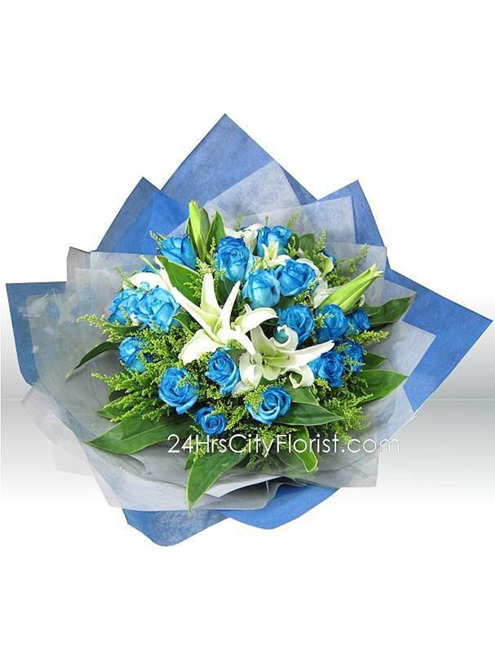Blue Rose White Lily Bouquet