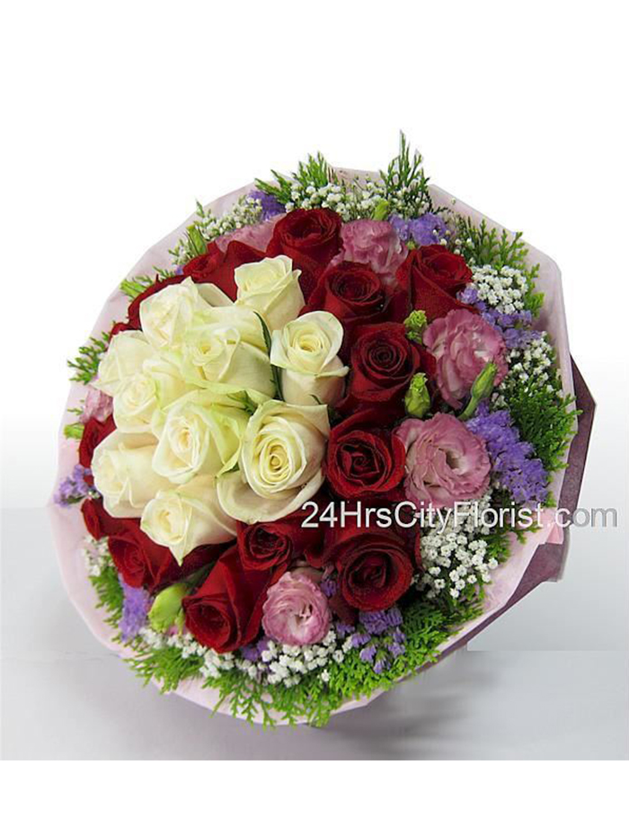 Red White Rose Bouquet