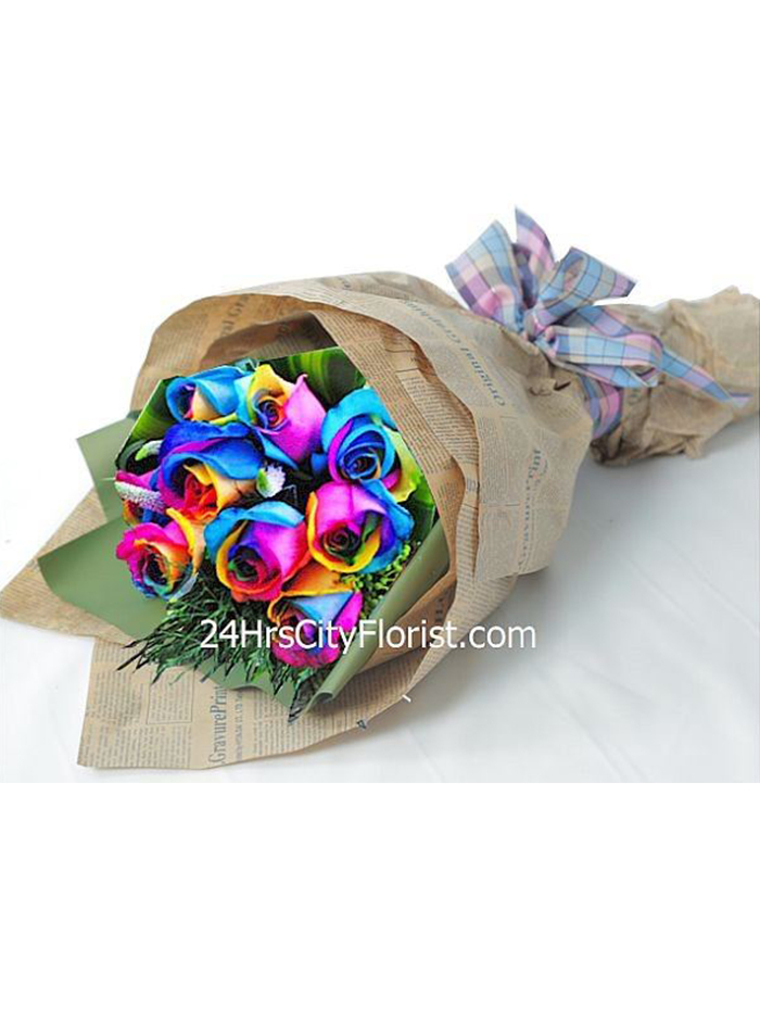 Rainbow Rose Hand Bouquet