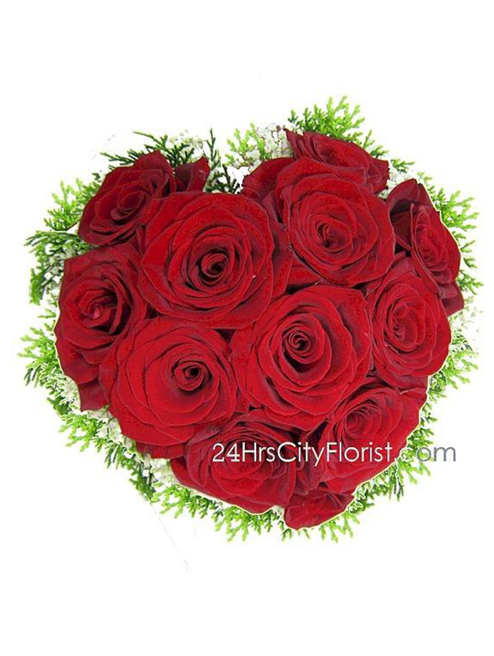 heart shape red rose bouquet