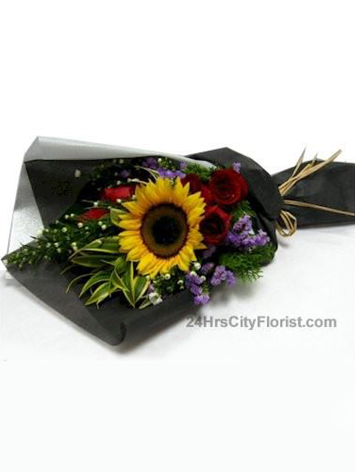 sunflower in black wrapper