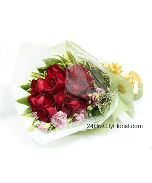 Gorgeousness - red rose hand bouquet