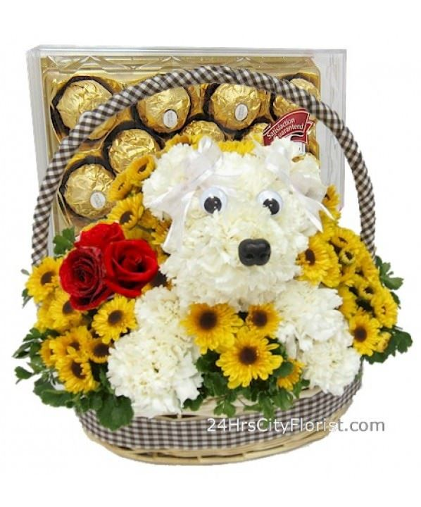 Puppy Chocolate Basket