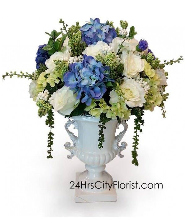 Silk Flower Arrangement in Classic Vase