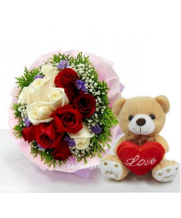 Flowers Delivery Singapore - Bouquet With Bear