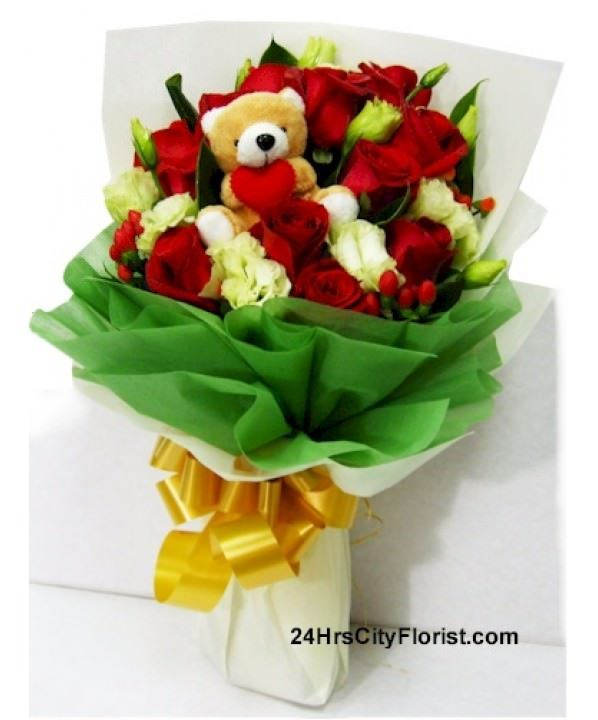 red rose with bear bouquet