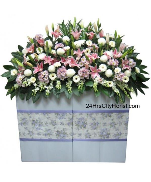 large condolence flower arrangement