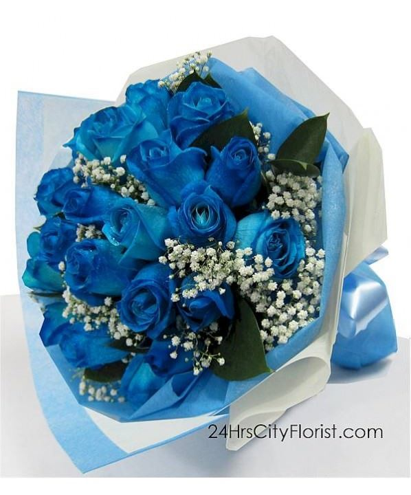 Blue Rose Hand Bouquet