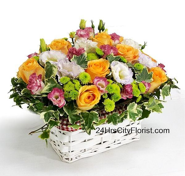 Orange Rose In Basket