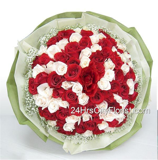 Red And White Rose Hand Bouquet