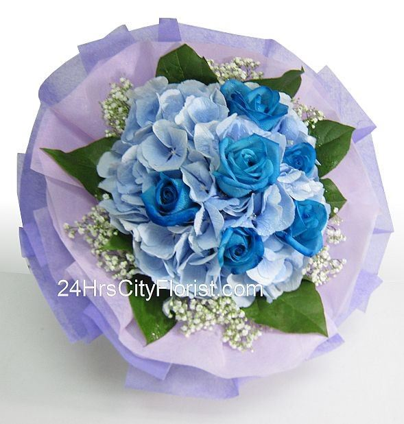 Blue Beauty - Hydrangea Rose Bouquet