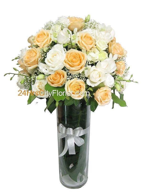Tall Vase Rose Champagne Arrangement