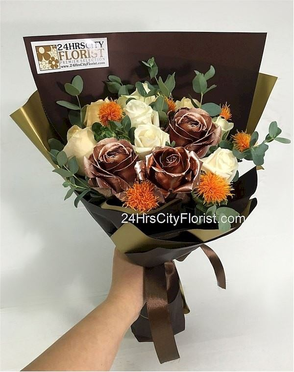 Bronze Rose Bouquet Valentine