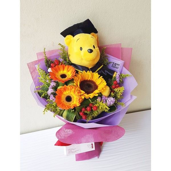 Pooh Bear Graduation Flowers